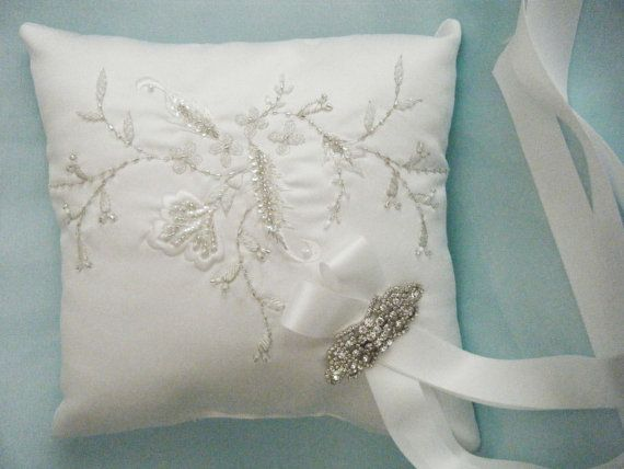 Couture White Ring Bearer Pillow Embroidered By Weddingzilla