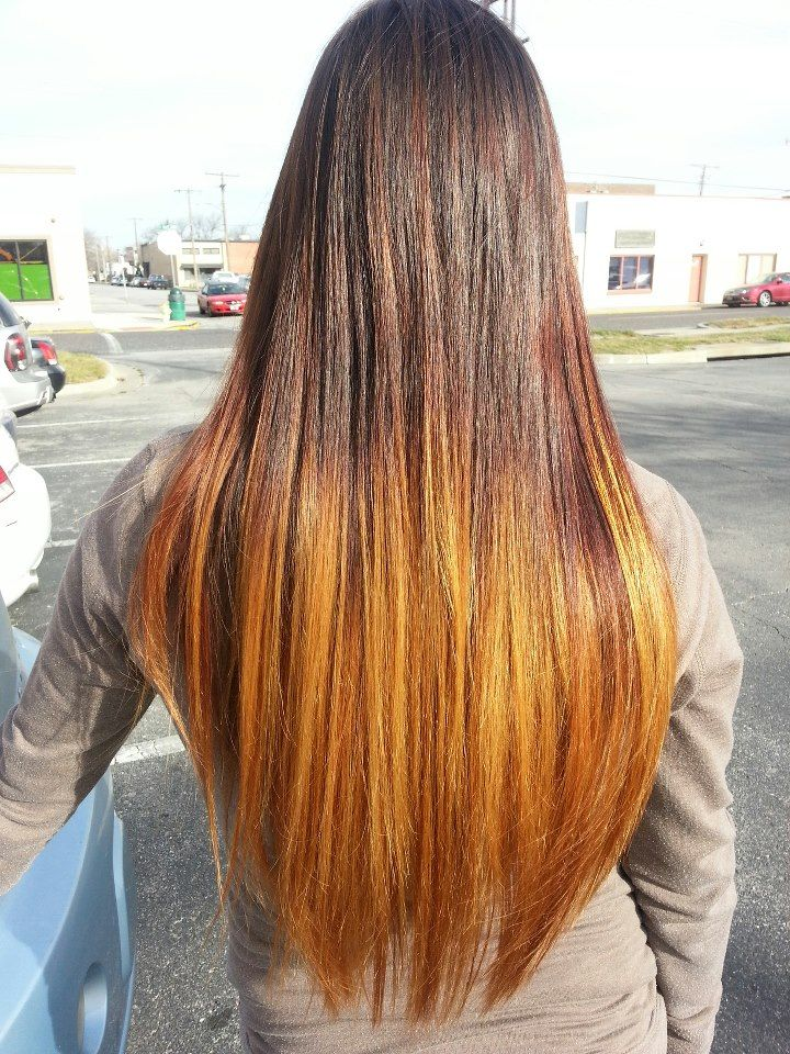 My Long Straight Ombre From A Dark Redbrown To A Warm Copper