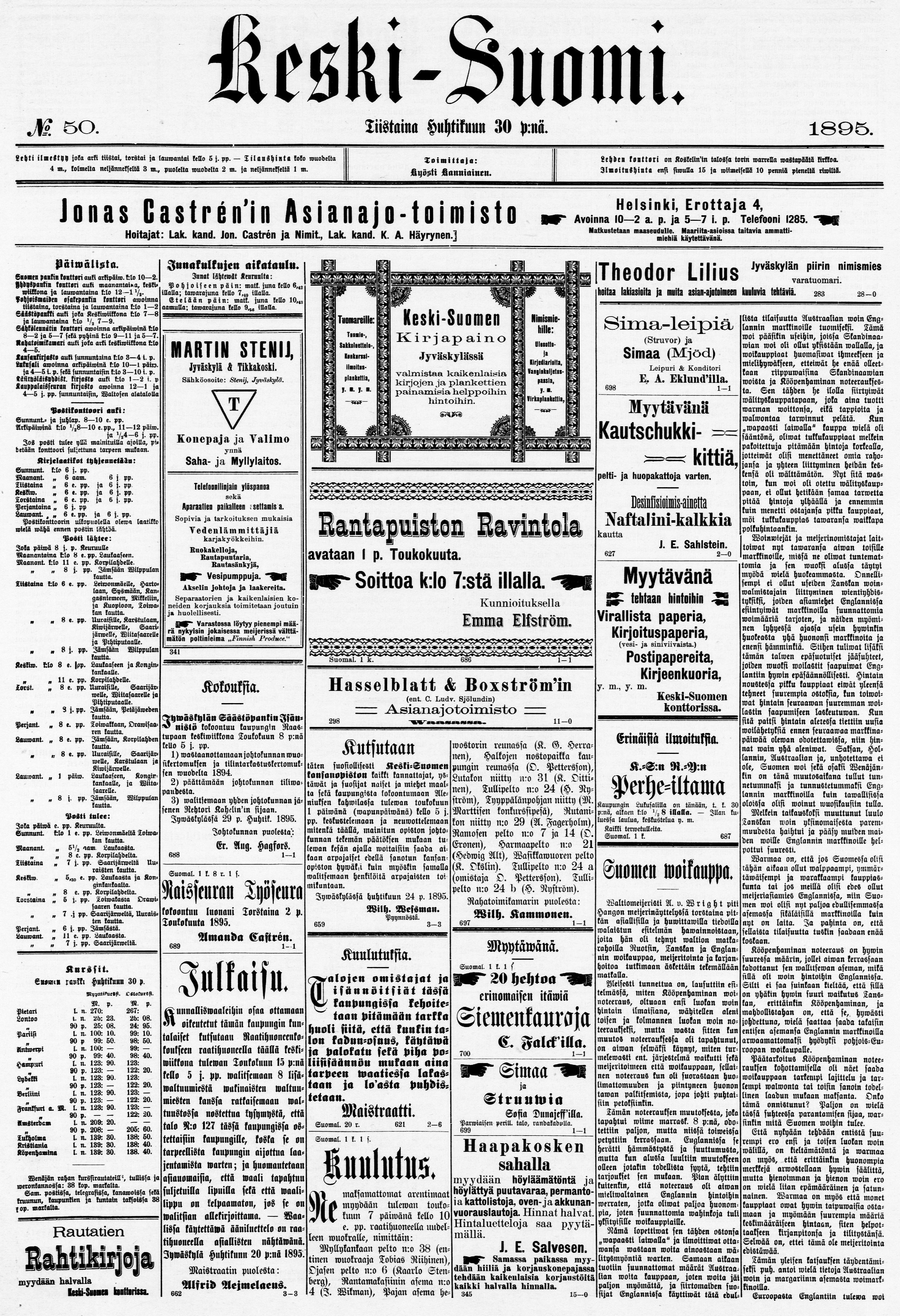 30.04.1895 Keski-Suomi no 50 - Sanomalehdet - Digitoidut aineistot - Kansalliskirjasto