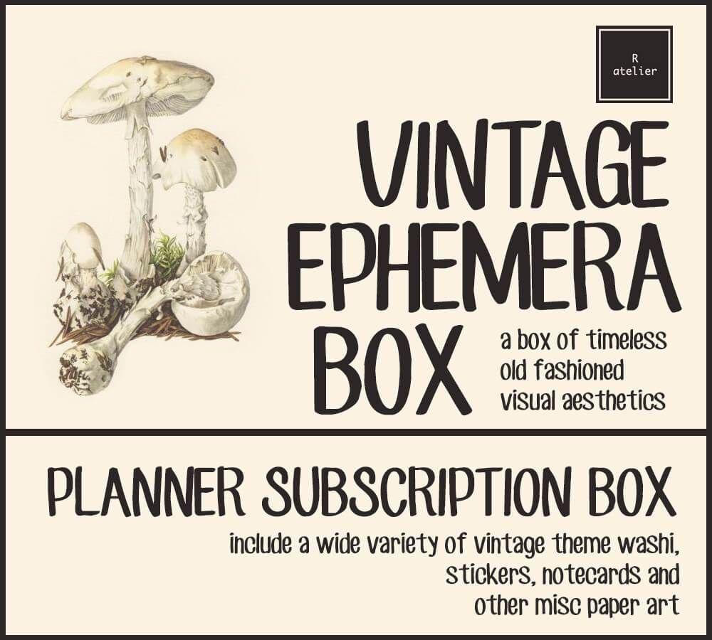 Vintage ephemera subscription box visual aesthetics ephemera and