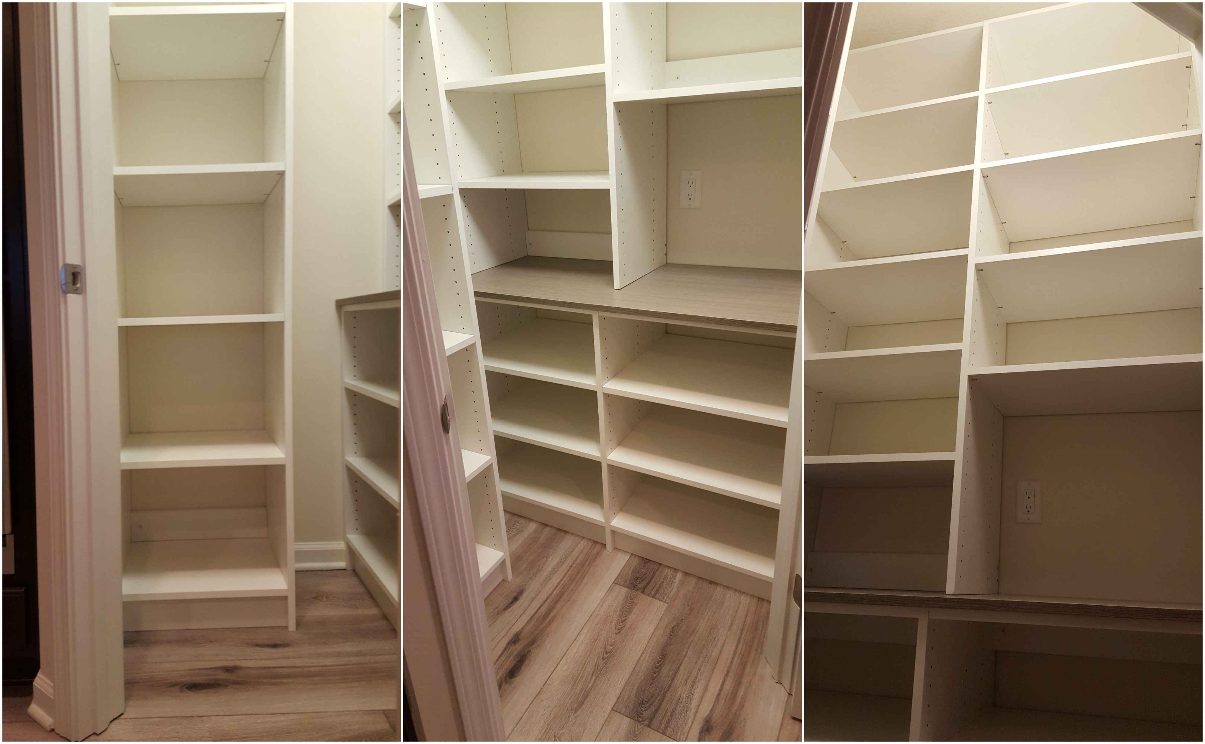 White Melamine Pantry With Adjustable Shelving And Accent Top Adjustable Shelving Shelving Pantry