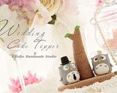 LOVE ANGELS Wedding Cake Topper-love Owls with stump. $140.00, via Etsy.