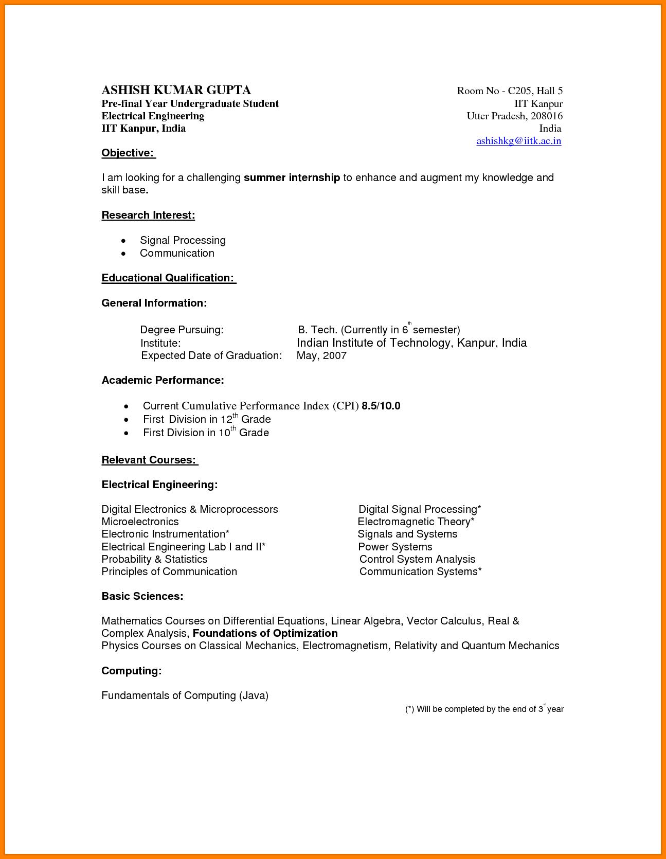 undergraduate student resume and template
