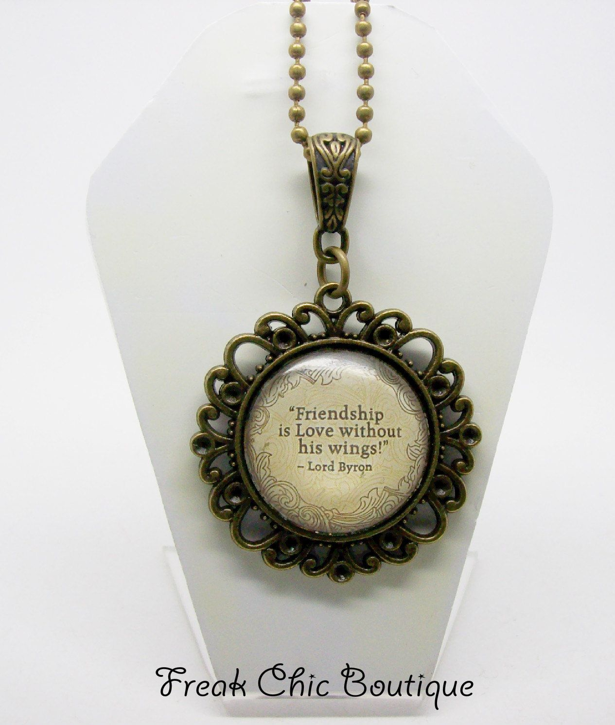 Lord Byron Quote Friendship Necklace, Byron, Altered Art, Antique Bronze, Gothic by freakchicboutique on Etsy