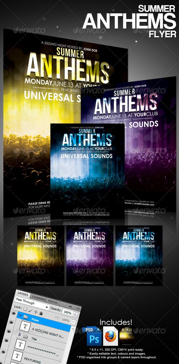 Summer Anthems Flyer  Club Flyers Summer And Print Templates