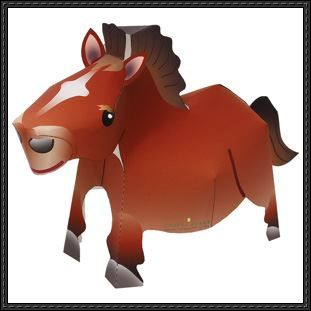 Canon Papercraft Animal Paper Model  Horse Free Template