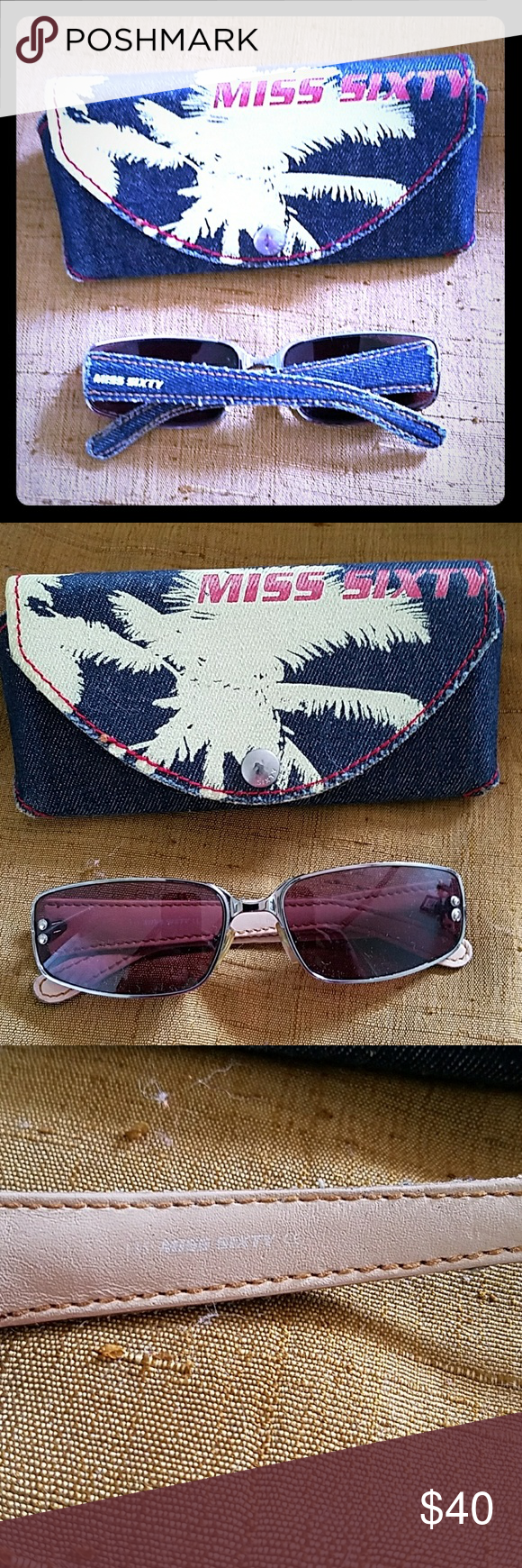 4b8aecaa5fdb Authentic Vintage Miss Sixty Sunglasses Purple lense with jean frames,  comes with the original jean case and Authenticity papers, these were a  gift from a ...