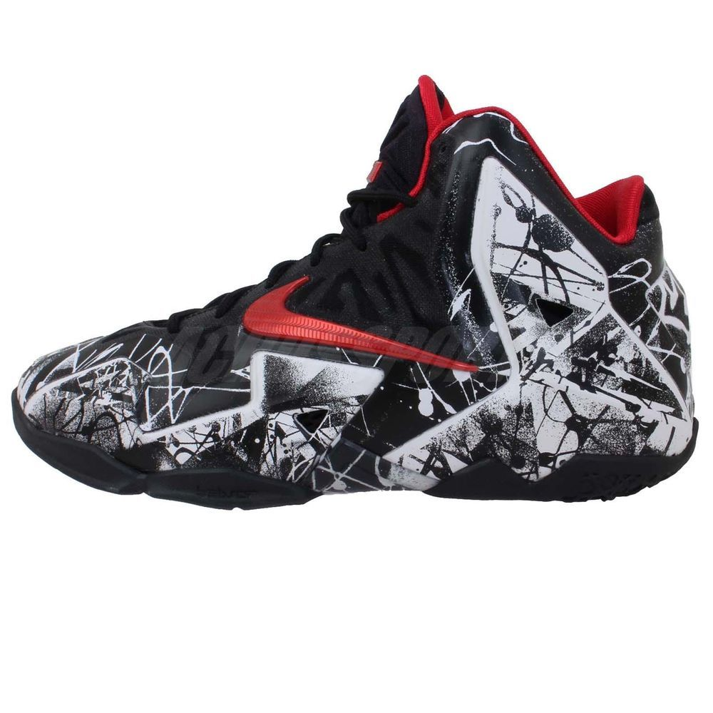 los angeles 33c9b bdb73 Nike Lebron XI GS 11 Graffiti White Black Boys Kids Youth James Basketball  Shoes