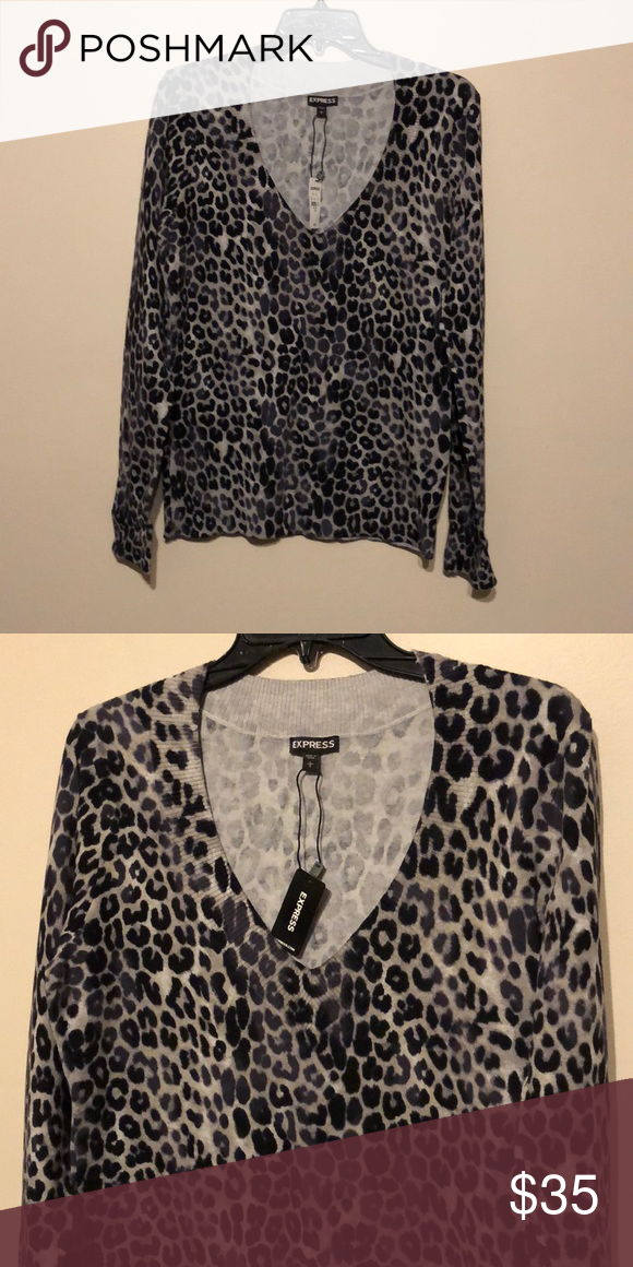 9838550969ff Leopard v-neck Express sweater Leopard v-neck Express sweater. Very  stretchy material Express Tops