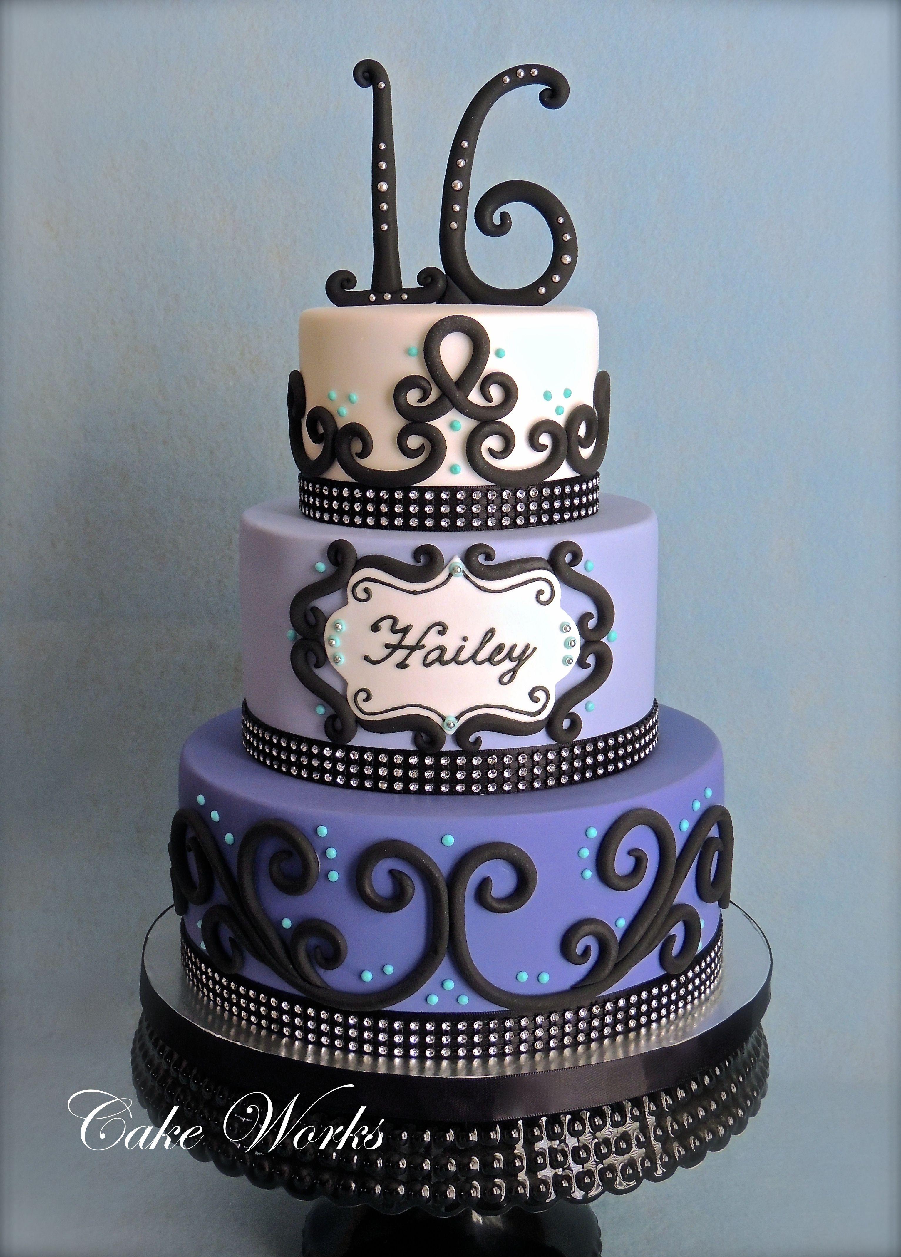 Sweet 16 Bling 16th Birthday Cake In Fondant The Birthday Girl