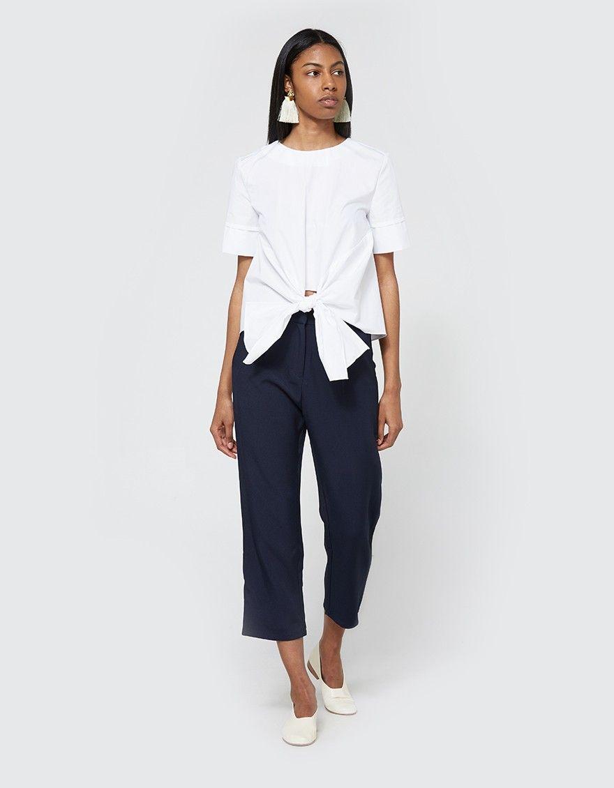 Modern blouse from stelen in white round neckline short sleeves