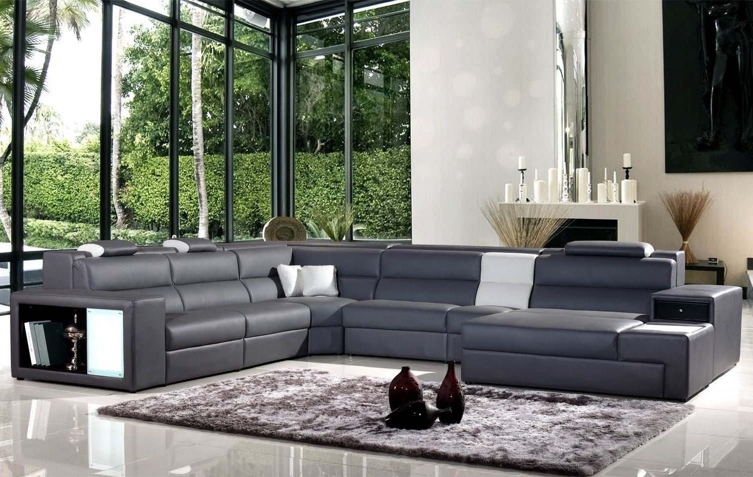 Camden Right Hand Facing Sectional With Ottoman Grey Leather Sectional Best Leather Sofa Leather Sectional
