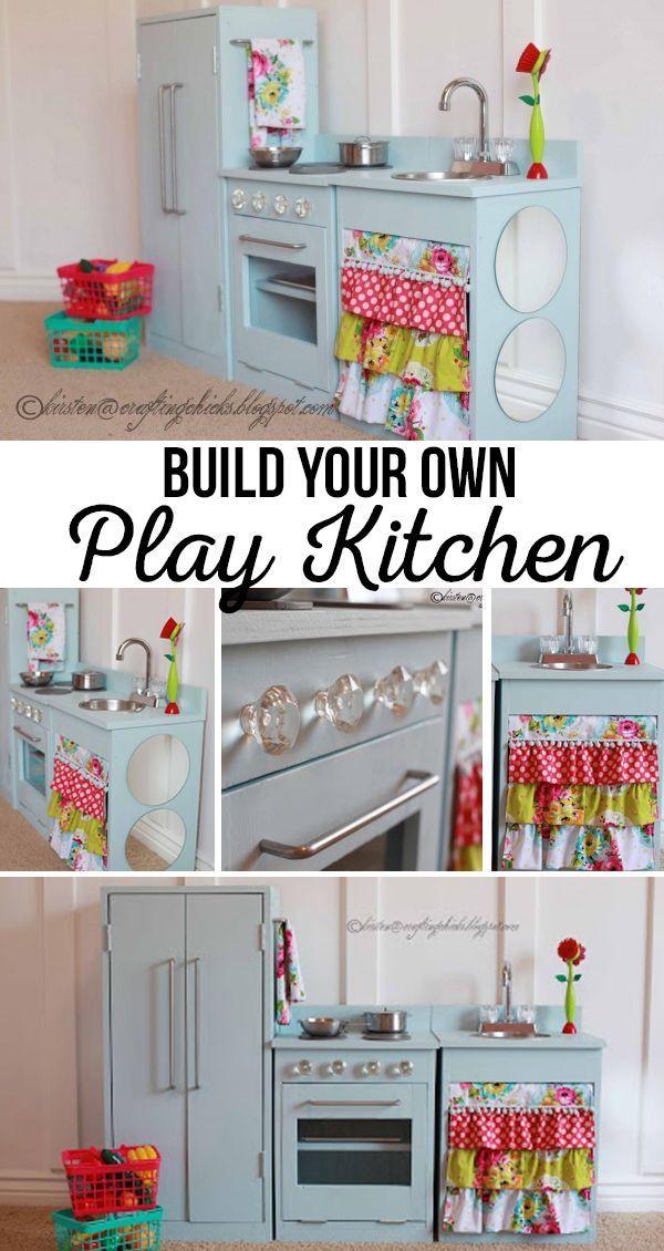 Diy Blue Play Kitchen Diy Play Kitchen Diy Kids Kitchen Kitchen Sets For Kids