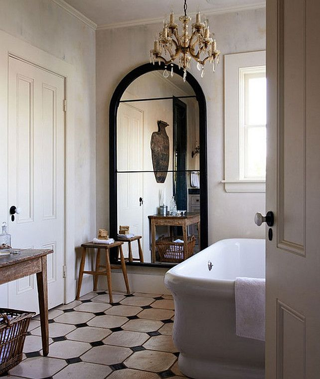 Interior Design Ideas French Interiors Tile Black Trimmed Mirror Bathroom Interior Design Chic Bathrooms Bathroom Interior
