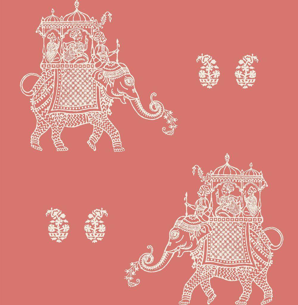 Caravan Coral Elephant Peel And Stick Wallpaper Elephant Wallpaper Embossed Wallpaper Brewster Wallpaper