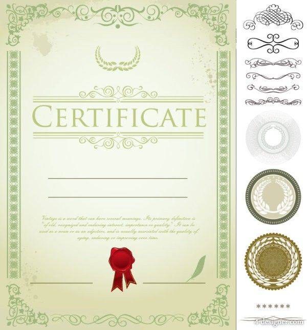 certificate template design 04 vector material Pic Stocks - free download certificate borders