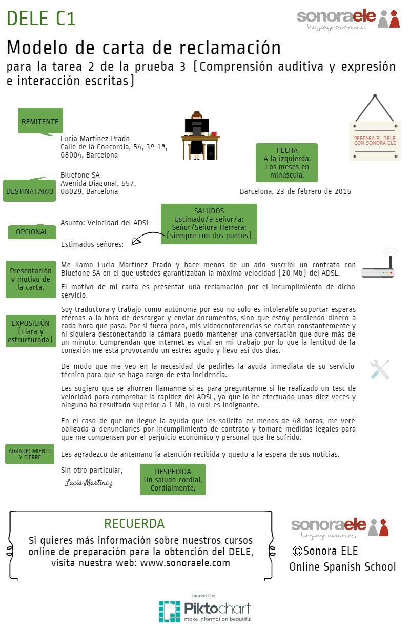 DELE C1: Modelo de carta de reclamación de Sonora ELE para la Prueba ...