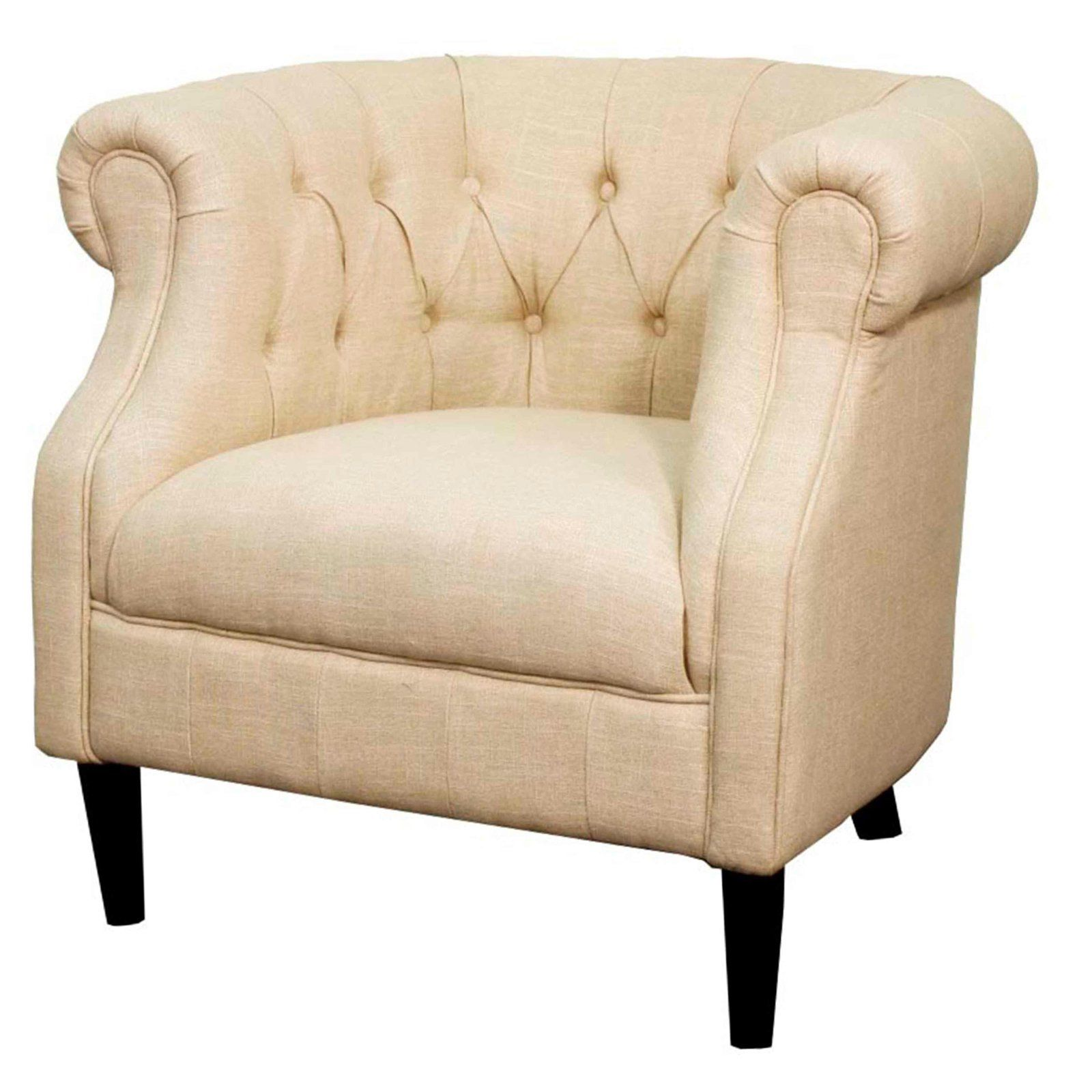 New Pacific Direct Inc Luna Fabric Tub Accent Chair Flax