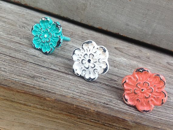 Metal Flower Knob-Home Decor-Summer by SimpleFindsCo on Etsy