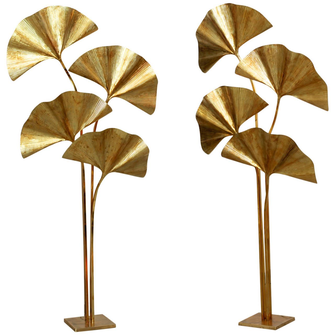 huge four ginkgo leaf brass floor lamp by tommaso barbi