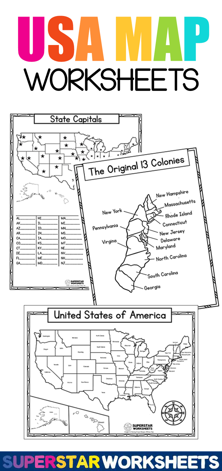 Usa Map Worksheets In 2021 United States Map Printable Map Worksheets Usa Map [ 1559 x 735 Pixel ]