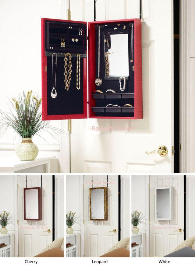 Door Hanging Organizer | ... Over Door Hanging Or Wall Mount Jewelry  Organizer Storage