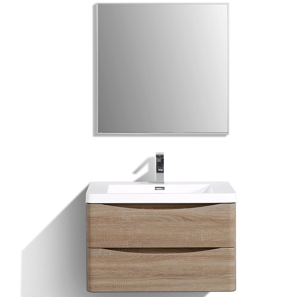 Eviva Smile 30 In W X 20 In D X 21 In H Vanity In White With Acrylic Vanity Top In White Oak With White Basin Evvn760 30whok Wm The Home Depot Modern