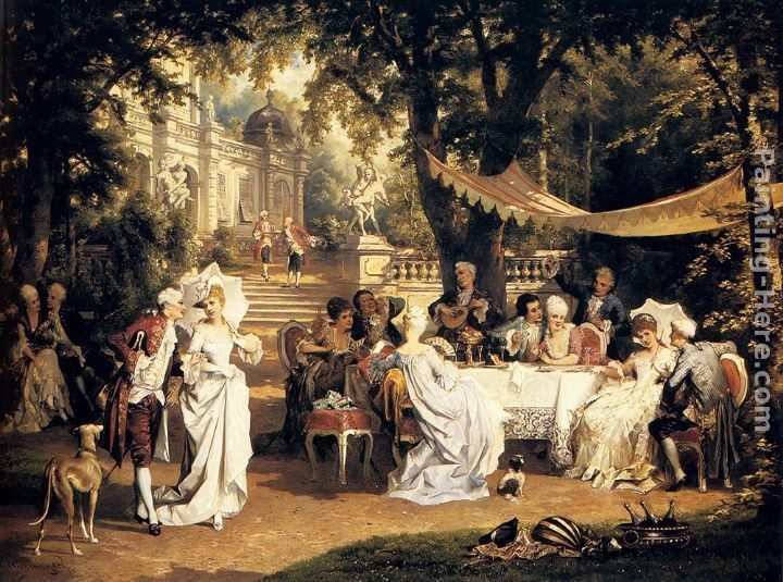 Carl Schweninger The Garden Party painting | framed paintings for sale    ok going off the deep end! : )