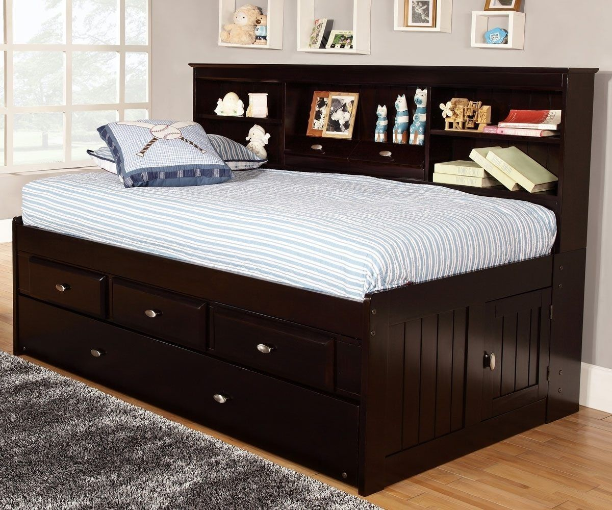 Black Twin Mates Storage Bed Bookcase Headboard Vito Twin