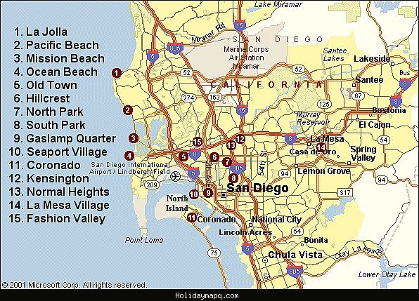 nice Map of San Diego Tourist | Holidaymapq | Pinterest | Nice map ...