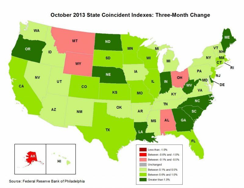 US Heat Map State Coincident Index In October Interactive HTML - Interactive us map html5