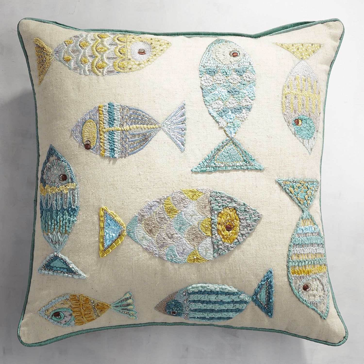Embroidered swimming fish pillow products pinterest fish