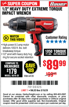 Bauer 1 2 In Heavy Duty Extreme Torque Impact Wrench For 89 99 In 2020 Harbor Freight Tools Impact Wrench Heavy Duty