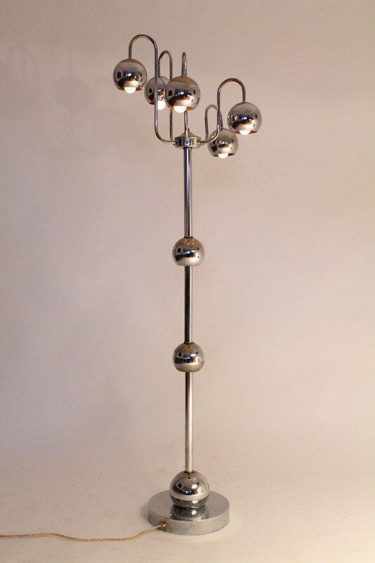 5 ARM FLOOR LAMP chrome eyeball space age retro by VINTAGELAMPDEN ...