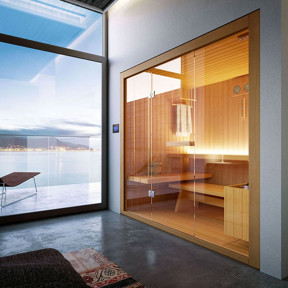 Glass saunas design construction pinterest saunas and sauna glass fronted of wooden bench towel holder glass frontage glass wall rope planetlyrics Image collections