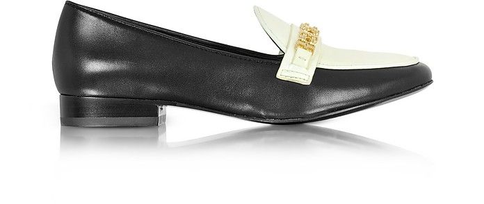 b11f3302675e37 TORY BURCH Gemini Link Black Leather and Bleach Patent Leather Loafer Shoe.   toryburch  shoes