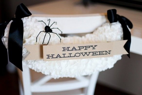 Halloween Party Coffee Filter Chair Garland :: The TomKat Studio for DIY Network