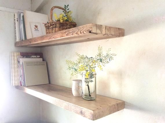 brand new 971eb 3c26a Floating Wood Shelves Recycled Timber Set of 2 Reclaimed ...