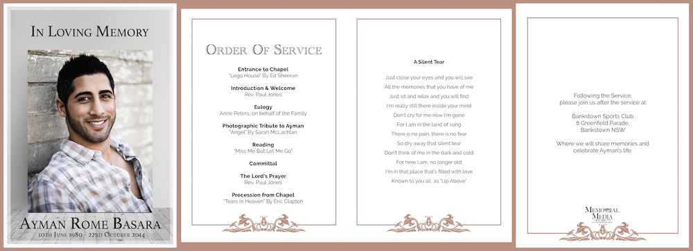 Professionally designed Funeral Order of Service Booklets We also - memorial service template word