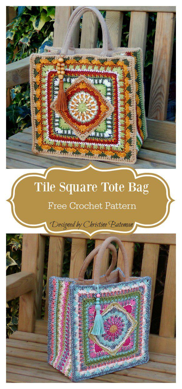 Tile Square Tote Bag Free Crochet Pattern en 2018 | Bolsos ...