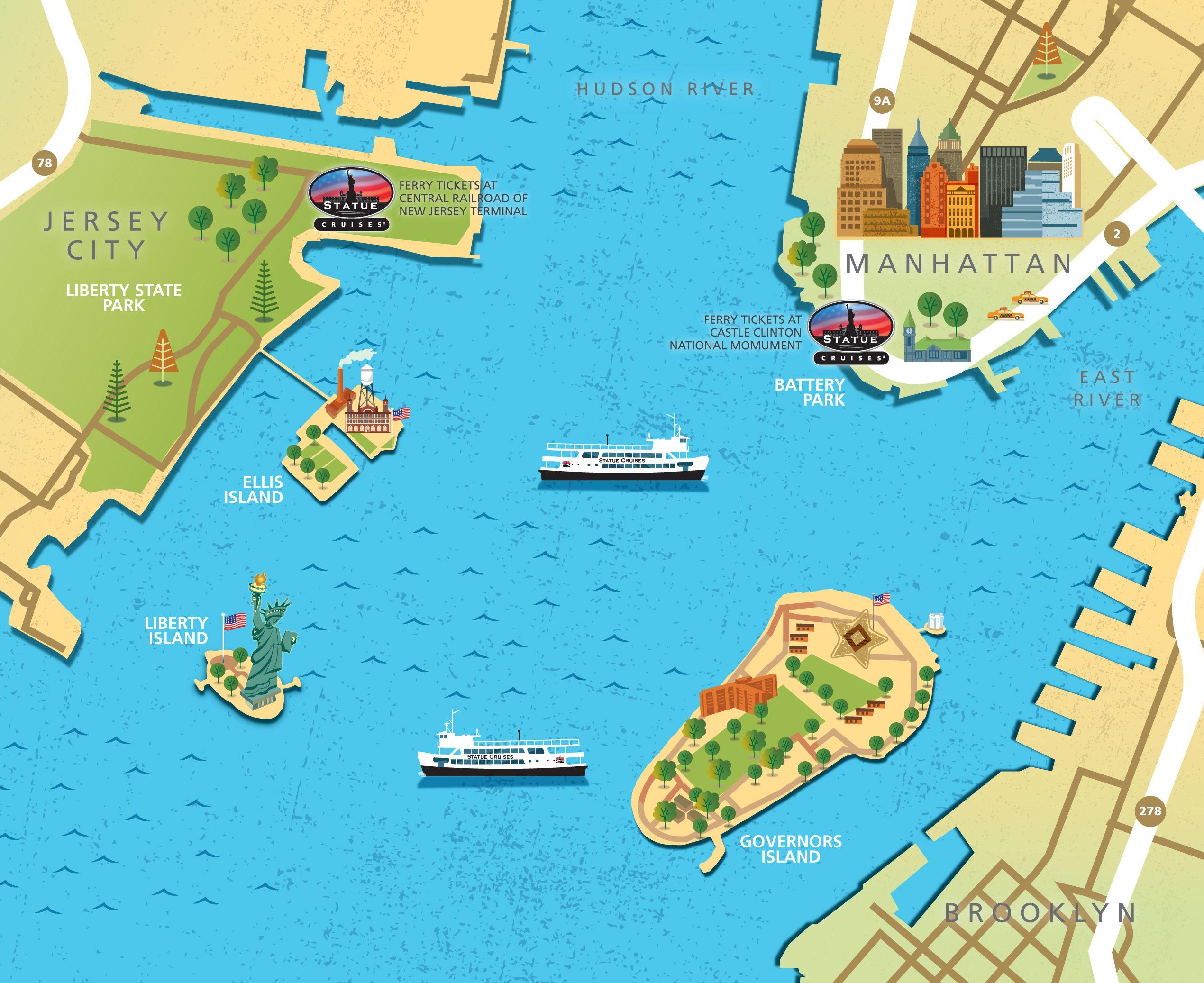 Statue Of Liberty And Ellis Island Tickets Statue Cruises NYC - Map of new york ellis island