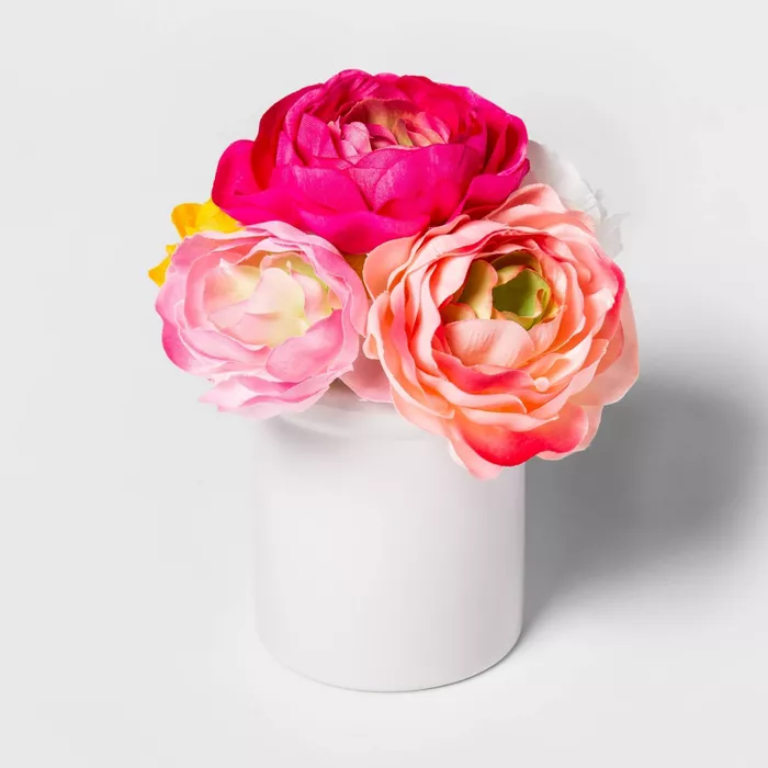 8 X 6 Artificial Ranunculus In Ceramic Pot Pink White Threshold In 2020 Artificial Flowers And Plants Faux Flower Arrangements White Ceramic Planter