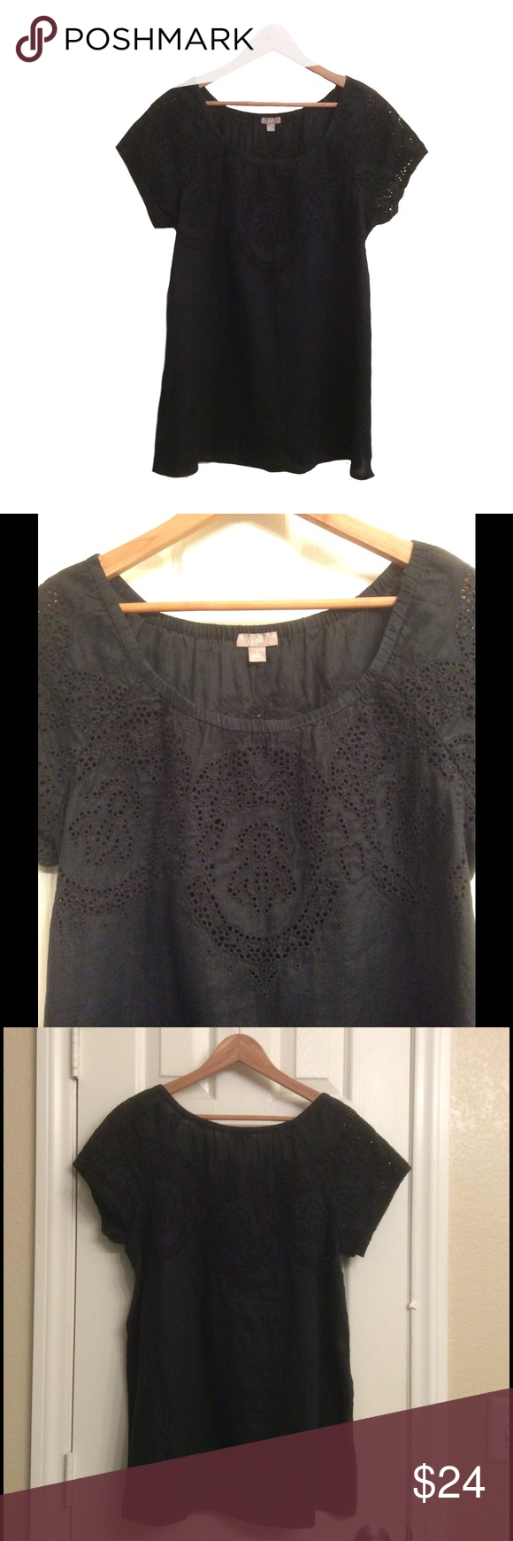 J. Jill linen eyelet blouse & FREE GIFT In great condition, LARGE, 29 inches long, 44 inches between arms, bundle up for savings 💕 Receive a FREE GIFT new boutique gold choker with this purchase 😍 J. Jill Tops Blouses