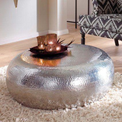 couchtisch vintage look rund aluminium ca 80 cm silber gl nzend wohnzimmer pinterest. Black Bedroom Furniture Sets. Home Design Ideas