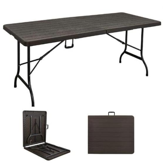 طاولة مصنوعة من البلاستيك قابلة للطي لون بني Asl 5388 Outdoor Furniture Decor Outdoor Decor