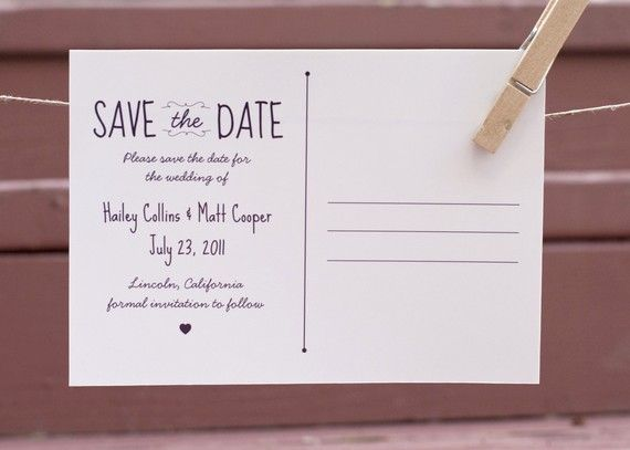 Save the date postcard - back WEDDING Stationary Pinterest