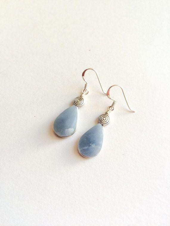 Celestite earrings, Natural Celestite stones and silver earrings, dangle gemstone earrings, Teardrop blue stone earrings, Celestite set