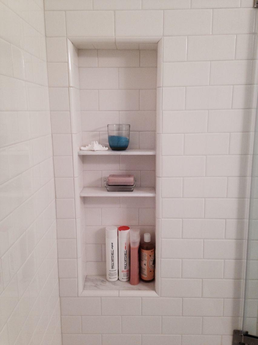 Shower Niche With Shelves White Subway Tile With White Carrara Marble Tile Shelves Vstroennye Polki V Vannoj Vanna Polki
