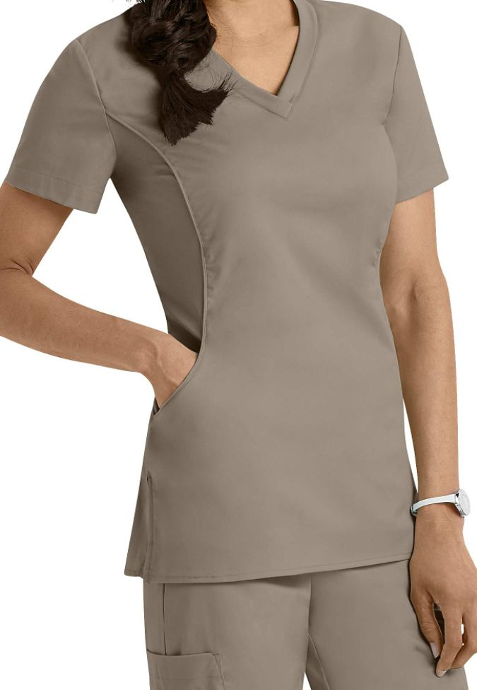 White cross allure v neck scrub top main image nurse scrubs for Spa uniform in the philippines