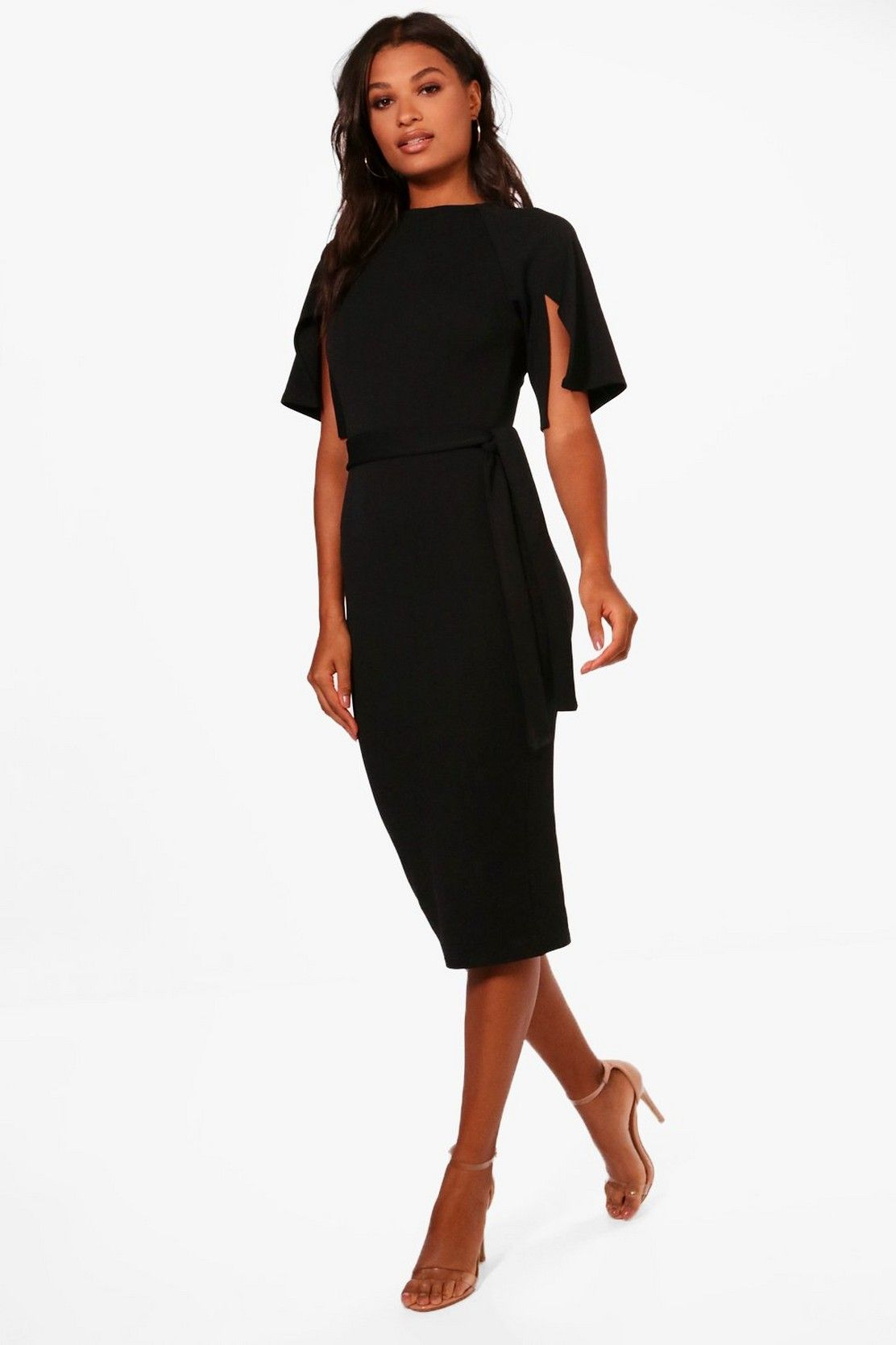 c68c3a07ce57 Split Sleeve Tie Waist Wiggle Midi Dress in 2019 | Style // Finds ...